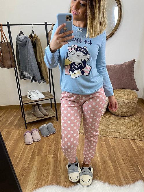 Pijama mujer Kitty azul cielo