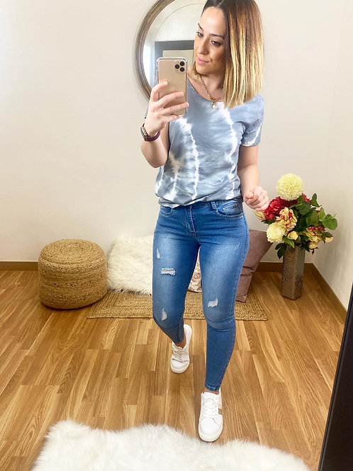 Camiseta tie dye gris