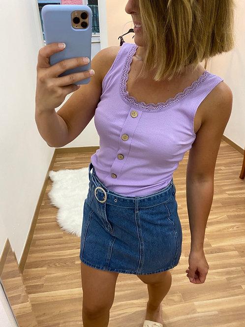 Camiseta canalé botones lila