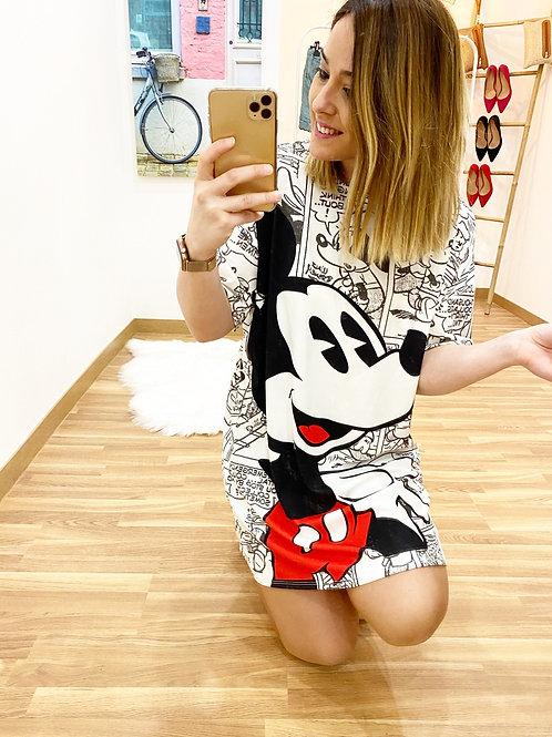Vestido Mickey cómic blanco