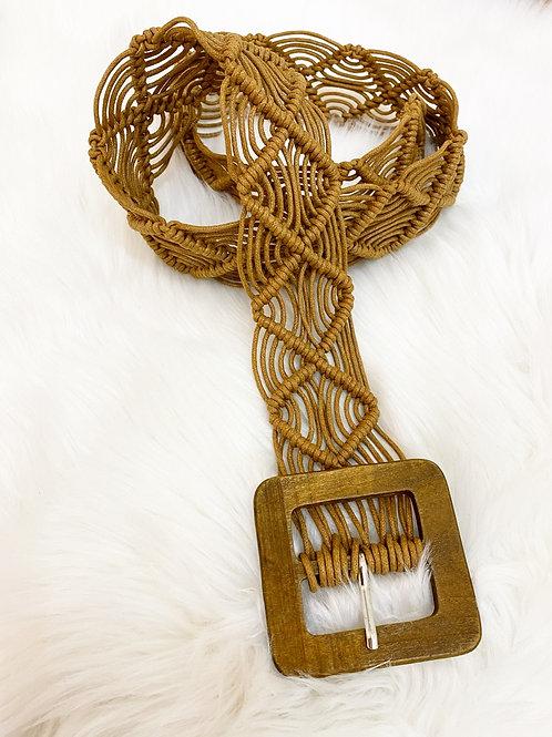 Cinturon cuerda trenzada camel