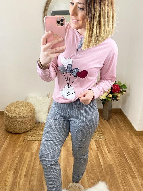 Pijama lazo Love rosa