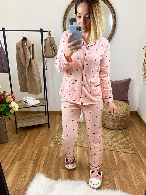 Pijama camisa ositos salmón
