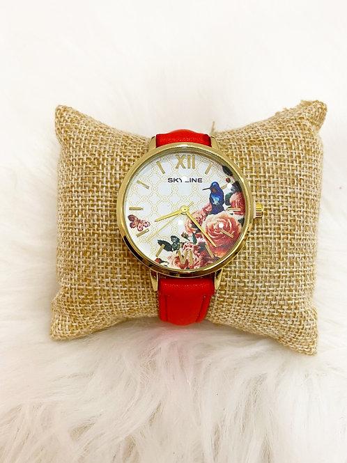 Reloj primavera rojo