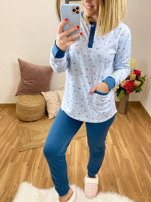 Pijama florecitas azul