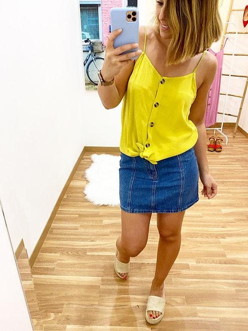 Blusa tirantes nudo amarilla