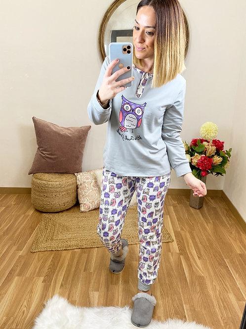 Pijama búho gris