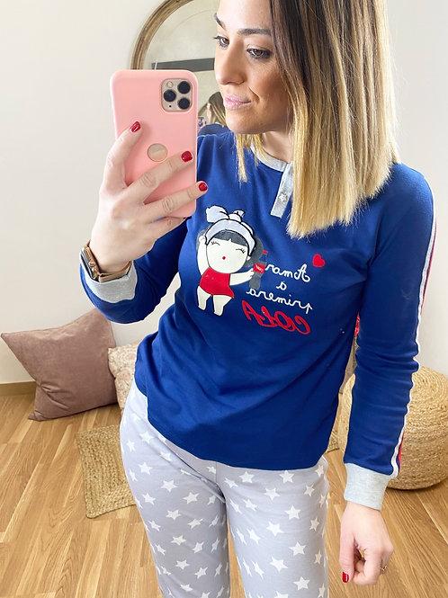 Pijama niña cola azul