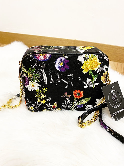 Bolso floral negro