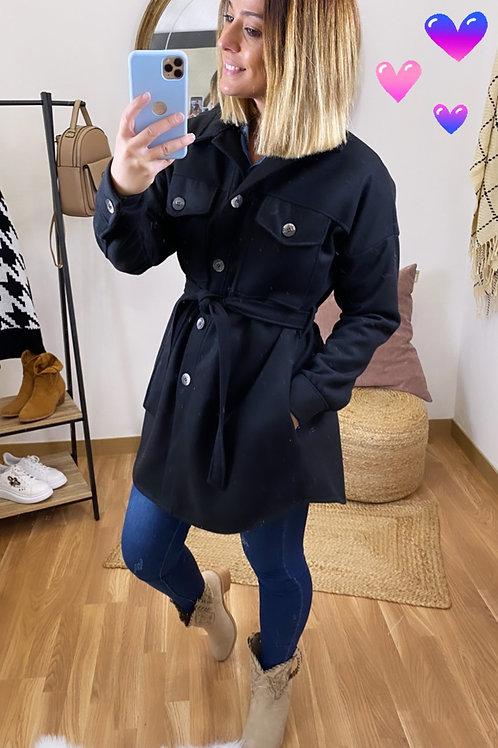 Abrigo paño bolsillos negro