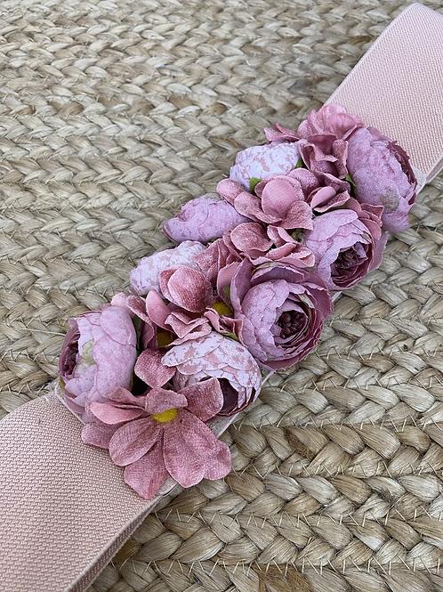Cinturón floral rosa palo
