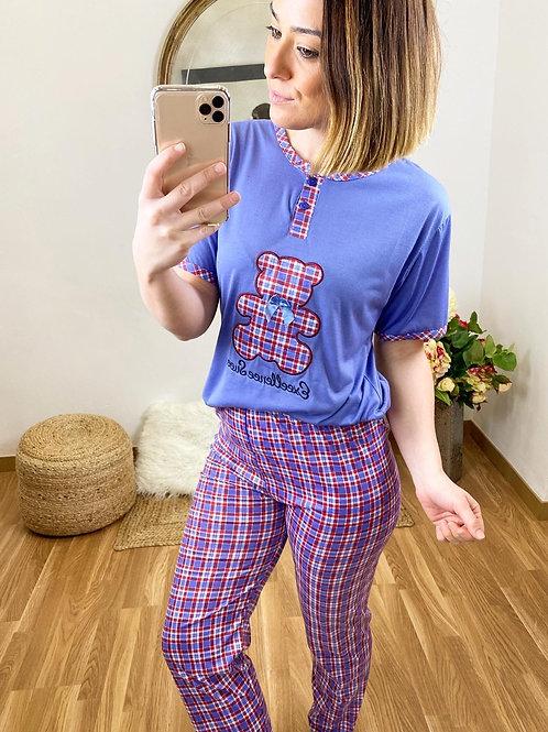 Pijama osito a cuadros azul