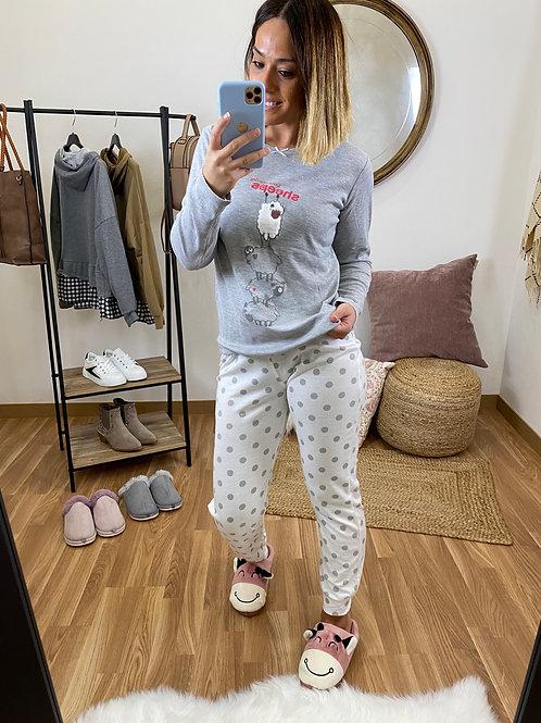 Pijama ovejitas gris claro