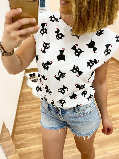 Camiseta gatito hombreras