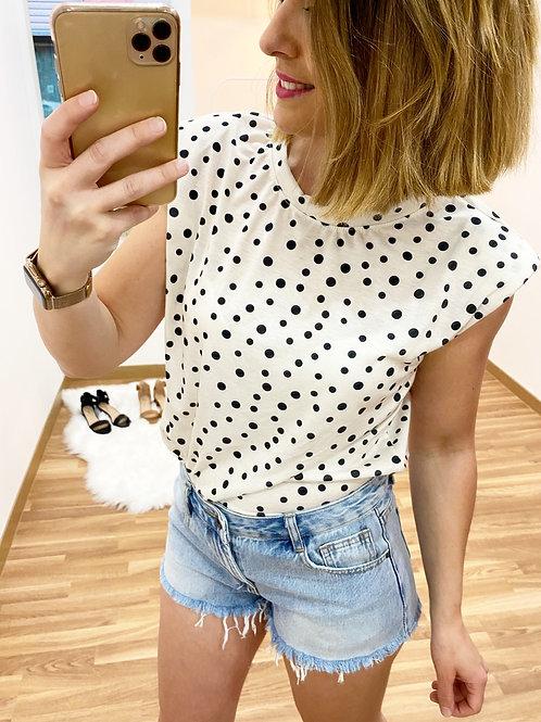 Camiseta topitos crema