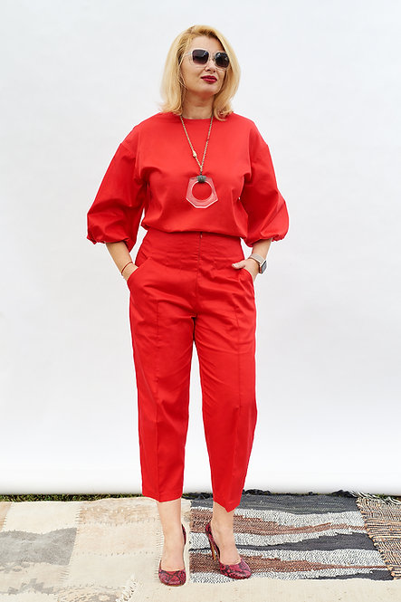 | DIEGA | sculptured trousers | lipstick red