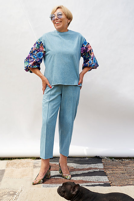 | DIEGA | sculptured trousers | denim & floral