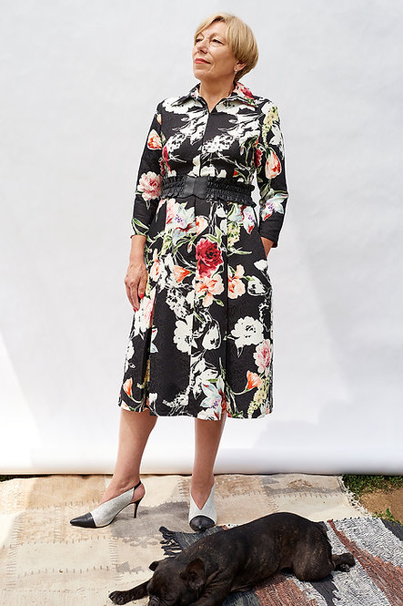 abstract floral blossom print jacquard dress