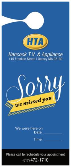 Hancock TV & Appliance Door Tag