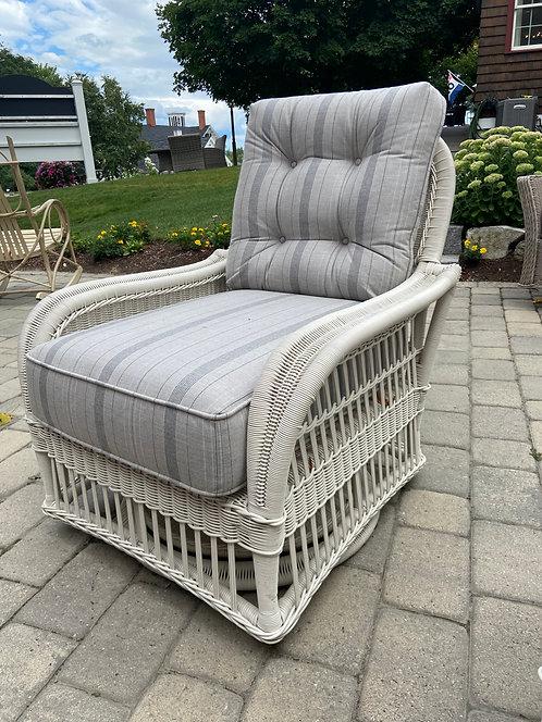 Century Mainland Wicker Swivel Lounge Chair W/ Button Back