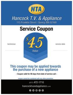 Hancock T.V. & Appliance Coupon
