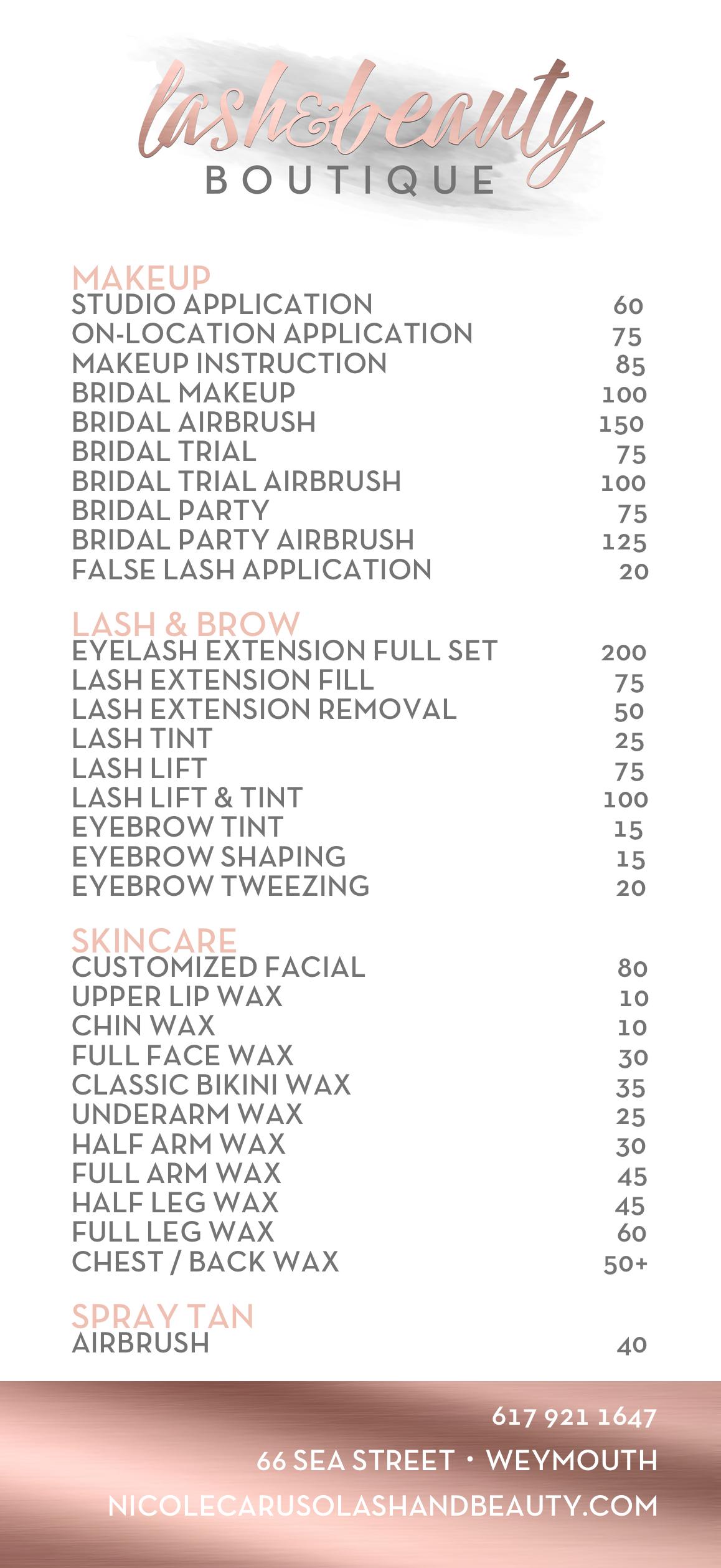 Lash & Beauty Boutique Rack Card