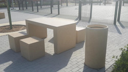 Table, Chairs and Litter bin