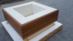 Planter with wooden cladding