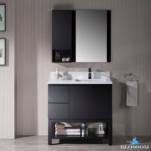 "Blossom Monaco 36"" Right Vanity Set with Mirror and Wall Cabinet 0003602R"