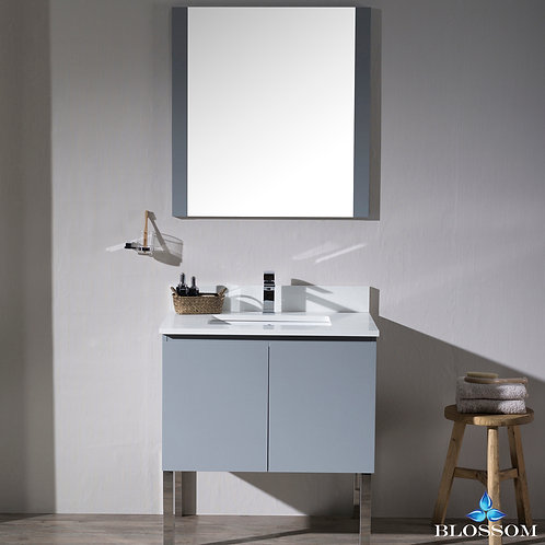 "Blossom Monaco 30"" Vanity Set with Mirror and Chrome Legs 0003015L9"