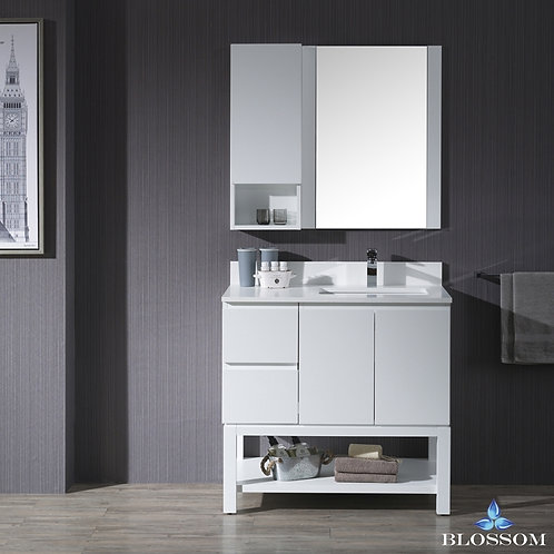 """Blossom Monaco 36"""" Right Vanity Set with Mirror and Wall Cabinet 0003601R"""