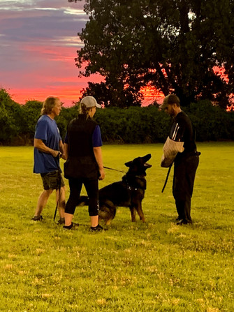 BFK9 Trainer, Megan Clouse, (Rone) Platon z Jirkova Dvora CGC, BHx2, IGP1, & Members of the Tulsa Schutzhund Club