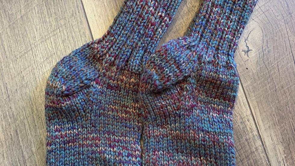 Knit multi color socks