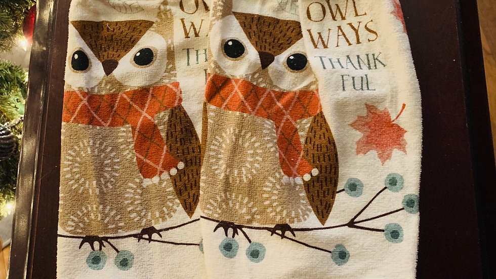 Owl ways thankful crocheted towel set