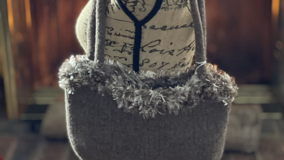 Light brown wool knit purse