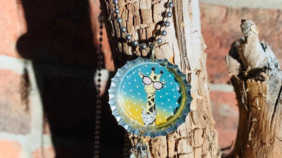 Giraffe bottle cap necklace