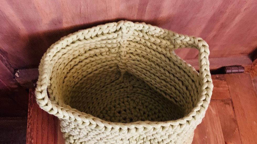 Green crocheted elegant decor basket