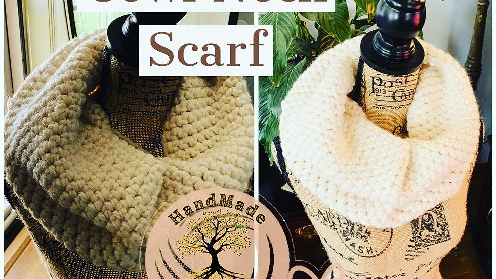 Crocheted cream cowl neck scarf
