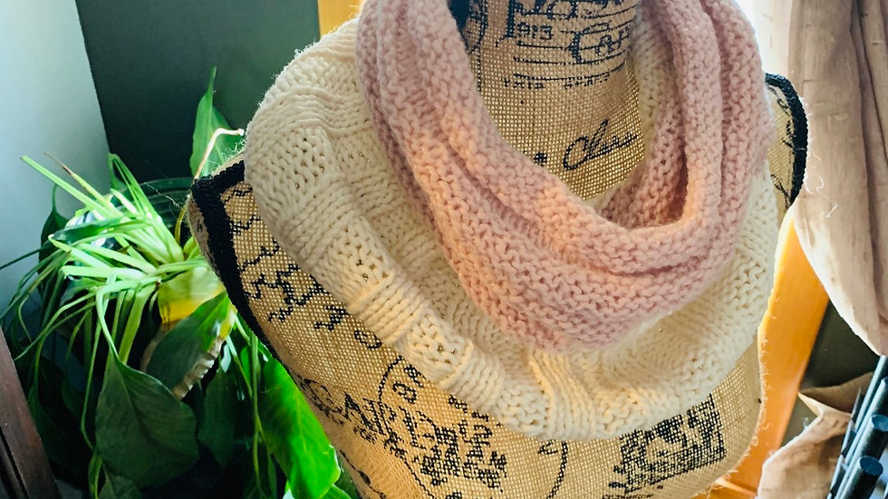 Pink and cream knit cowl neck scarf