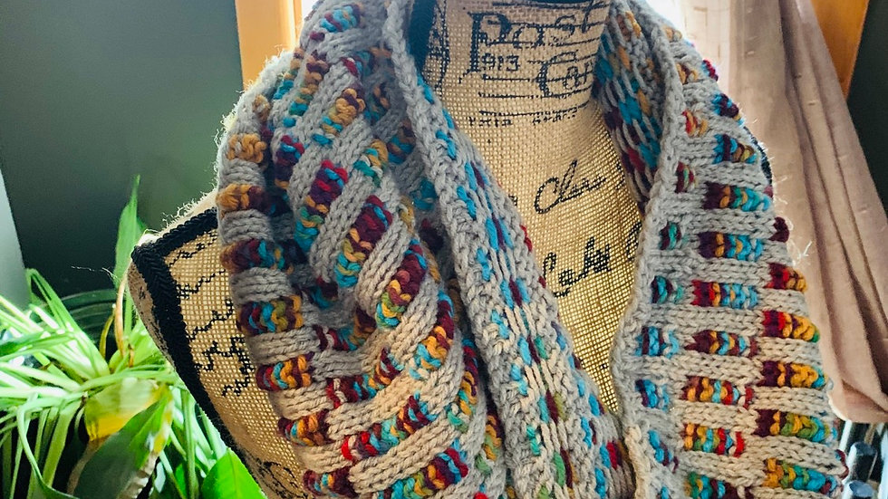 Southwest knit cowl neck scarf