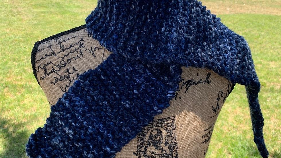 Dark blue thick knit scarf