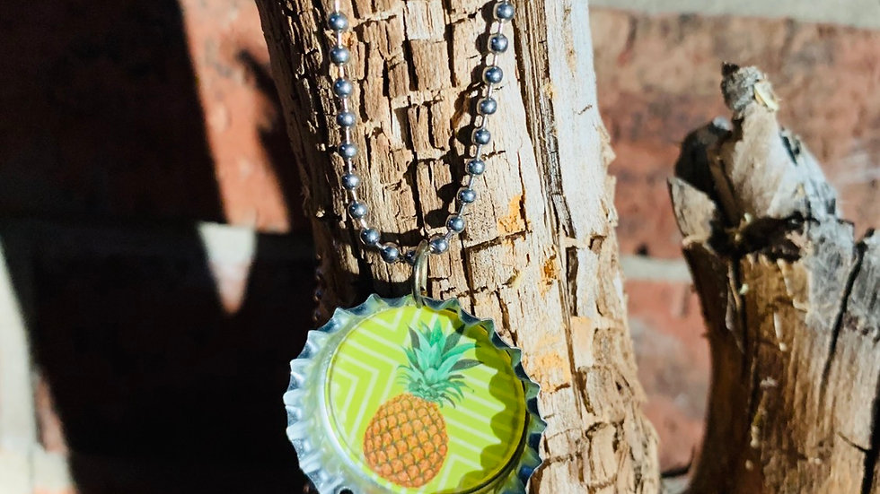 Pineapple bottle cap necklace