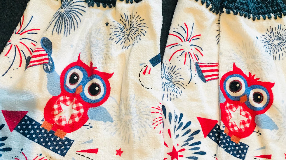 America Owl crochet Towel Set