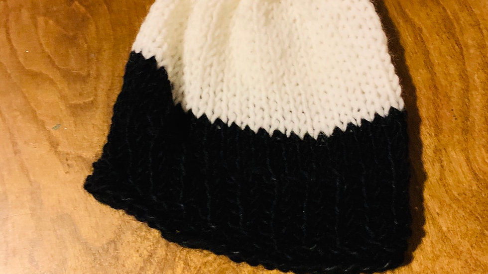 White and black knit hat