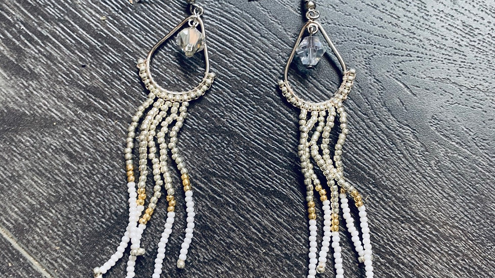 Hand beaded silver charm earrings