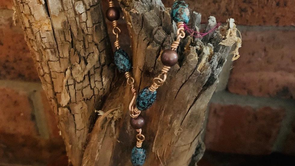 Rustic turquoise cross bracelet