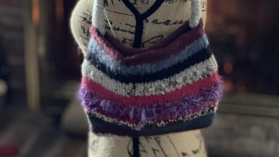 Petite color knit purse
