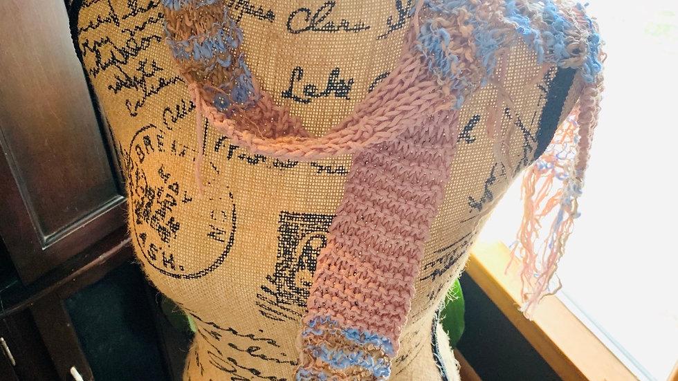 Fun pink knit scarf