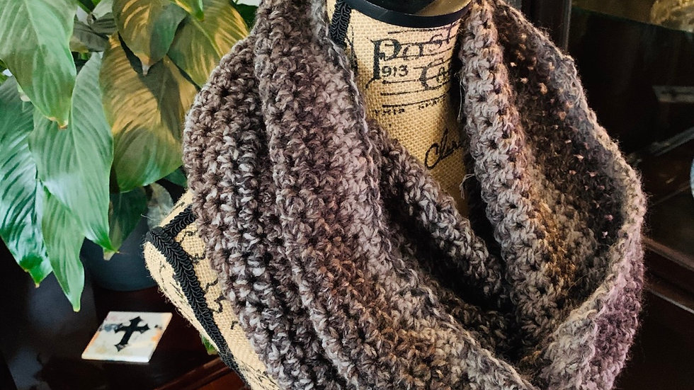 Crocheted cowl neck scarf