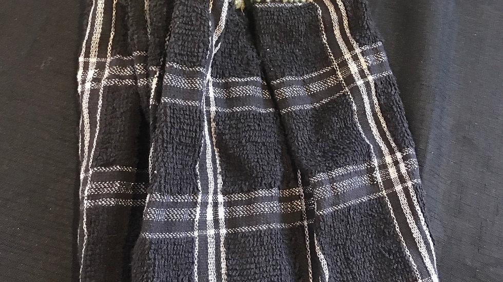 Black with Green top crochet towel set